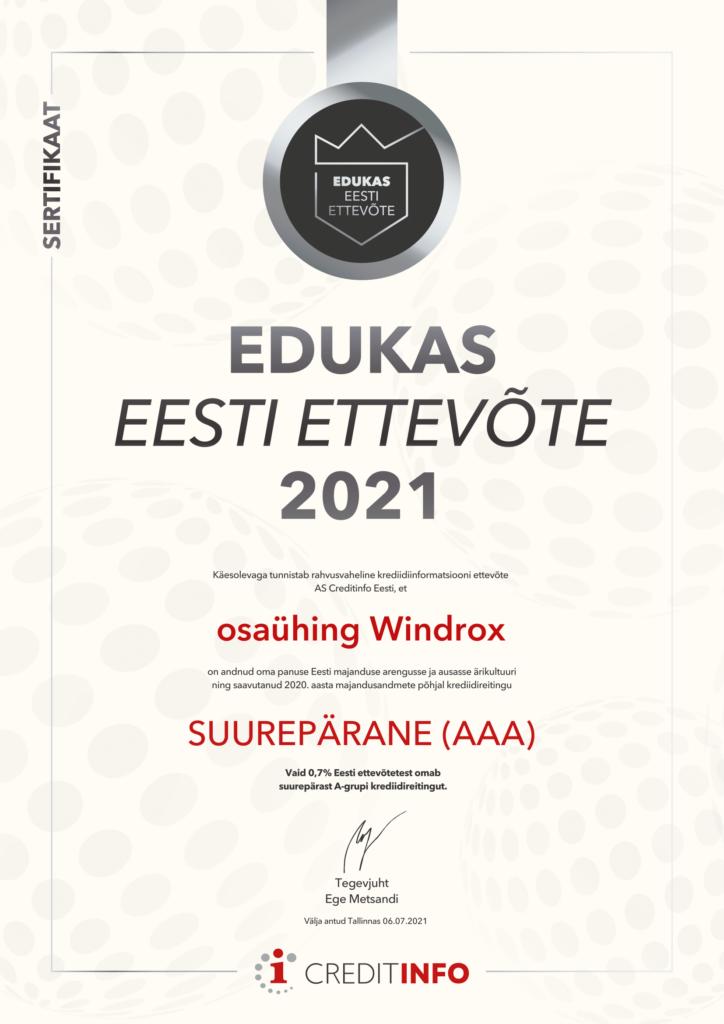 Windrox OÜ Edukas Eesti Ettevõte 2021